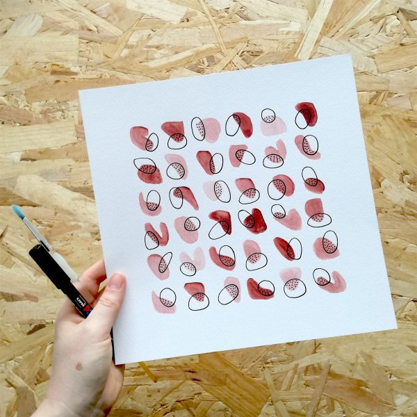 pop-illustration-abstrait-rouge-naturel-fait-main