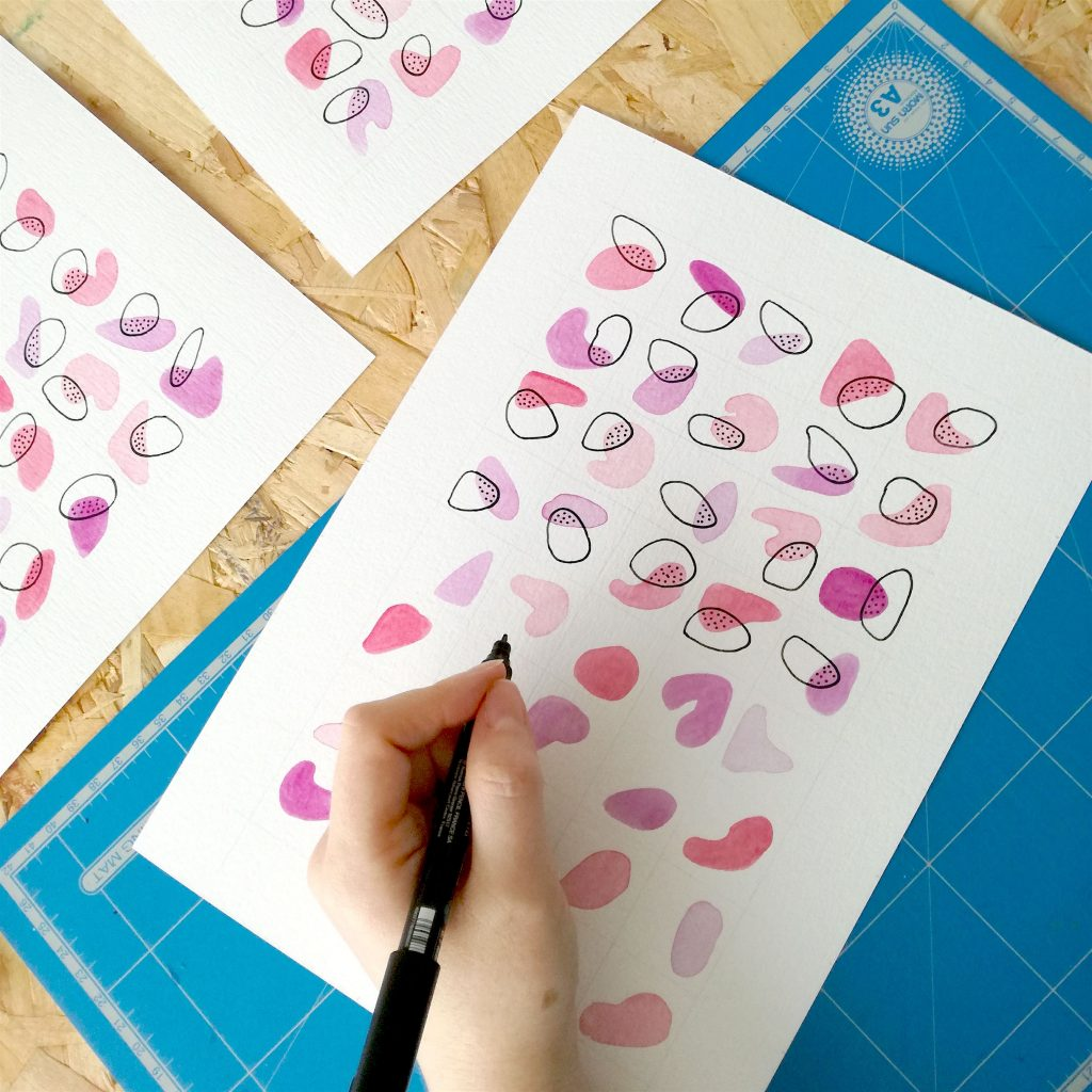 affiche-fait-main-aquarelle-rose-saint-valentin