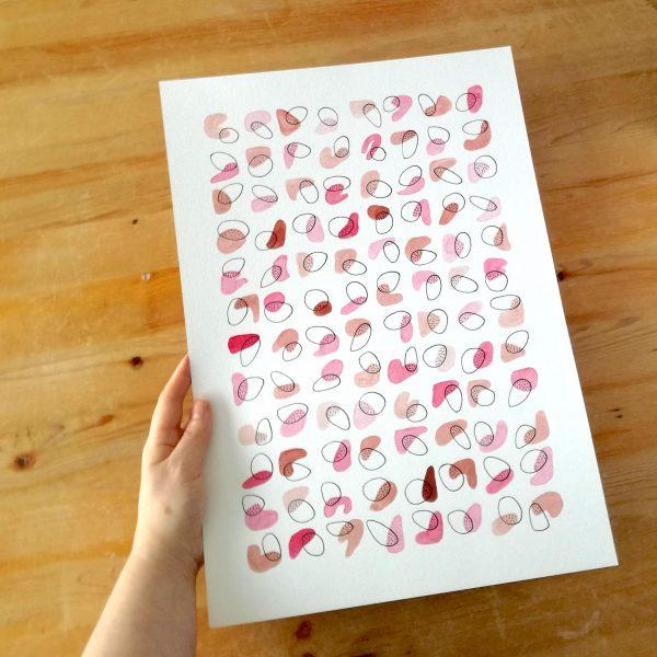 pop-affiche-abstraite-geometrique-rose-violet