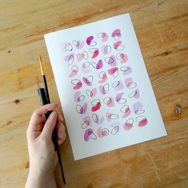 pop-affiche-fait-main-aquarelle-rose-violet-idee-cadeau-saint-valentin