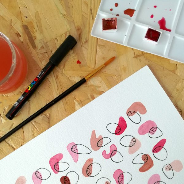 pop-affiche-fait-main-rose-violet-decoration-pastel-minimaliste-abstrait