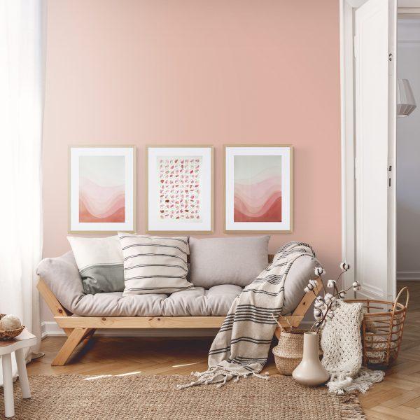 pop-affiche-illustration-abstrait-tryptique-rose-brun-geometrique-decoration-idee