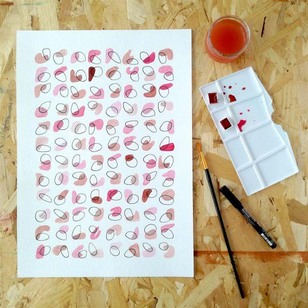 pop-illustration-fait-main-aquarelle-toulouse-rose-violet-abstrait