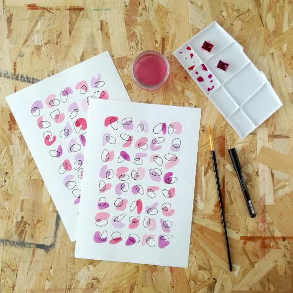 pop-illustration-fait-main-violet-rose-idee-deco