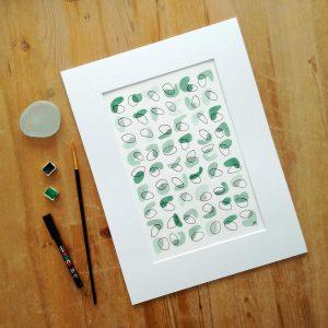 affiche-abstrait-vert-eucalyptus-fait-main