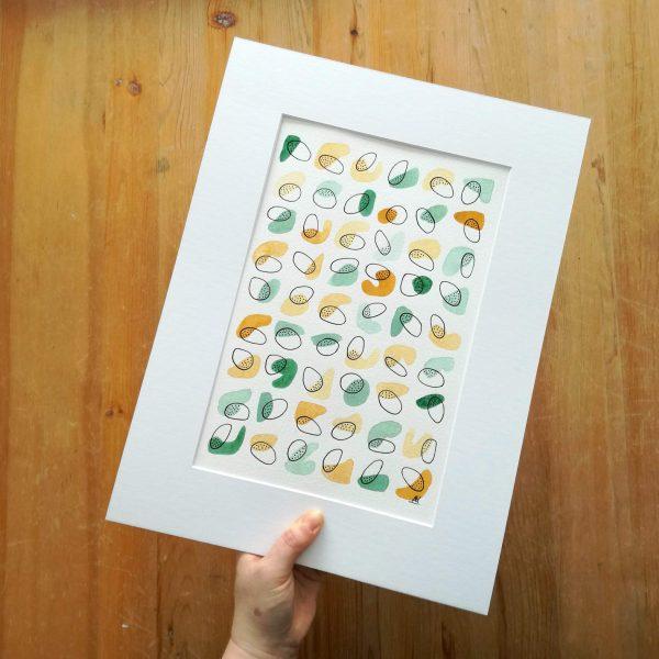 affiche-abstraite-fait-main-aquarelle-vert-eucalyptus-ocre-jaune