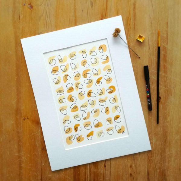 affiche-minimaliste-graphique-ocre-jaune-aquarelle