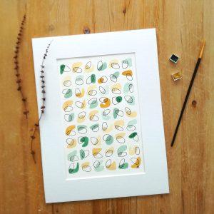 aquarelle-affiche-fait-main-ocre-jaune-vert-eucalyptus