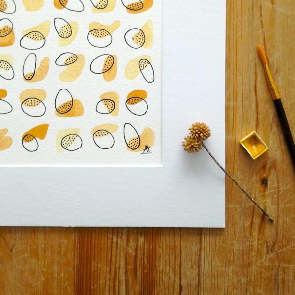 aquarelle-fait-main-ocre-jaune-abstrait