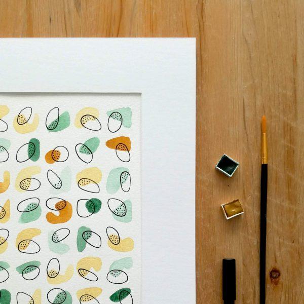 aquarelle-vert-jaune-abstrait-fait-main-affiche