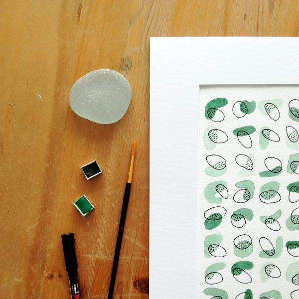 poster-fait-main-vert-eucalyptus-aquarelle